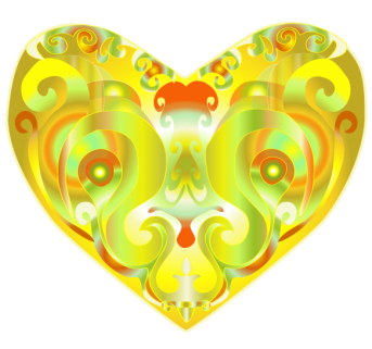 Colorful heart Yellow