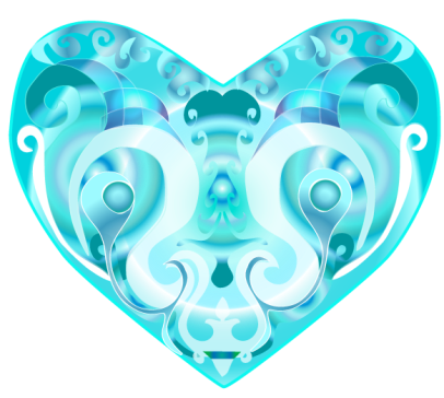Colorful heart aqua