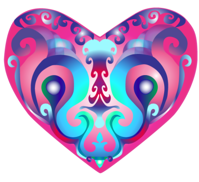 Colorful heart hot rose