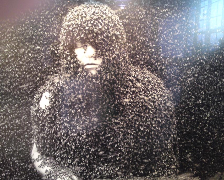 bedekt met bijen