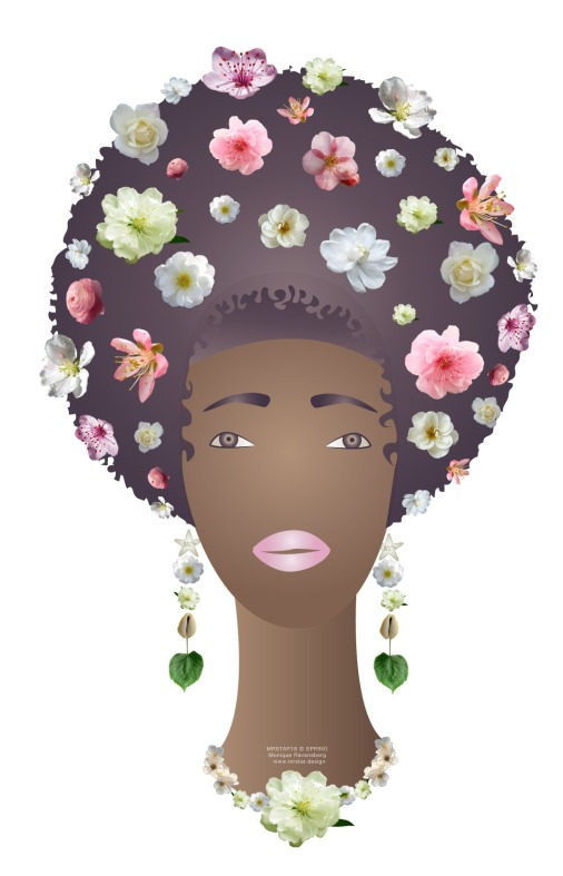dark lady in springtime with blossom in her afrohair