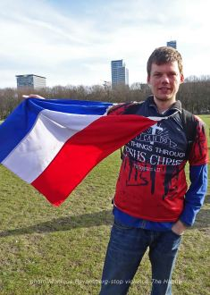 Freedom-stop-violence-The-Hague-flag